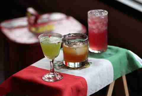 Full drink round-up on Mexican flag