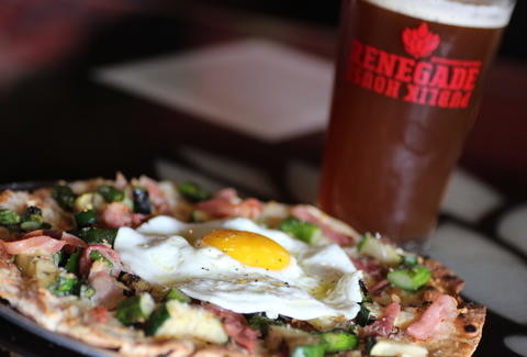 pizza and beer at Renegade Publik House