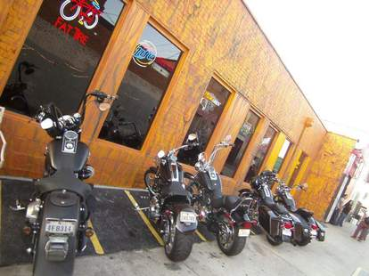 Bikes lined up outside of Reno's Chop Shop