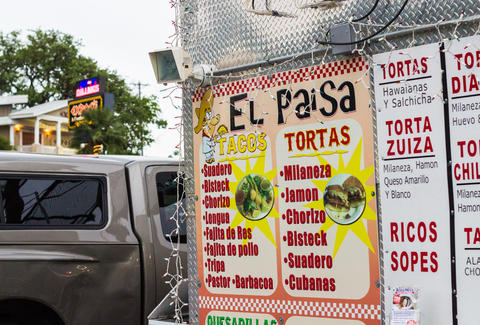 The menu at El Paisa