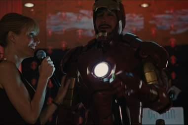 Tony Stark drinks champagne in Iron Man 2.