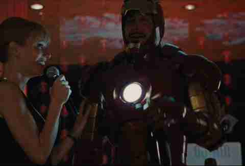 Tony Stark drinks champagne in Iron Man 2.