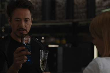 Tony Stark drinks champagne in The Avengers.