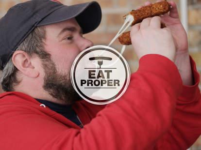 Thrillist Senior editor Matt Lynch eats mozzarella sticks from Roots Handmade Pizza in Chicago