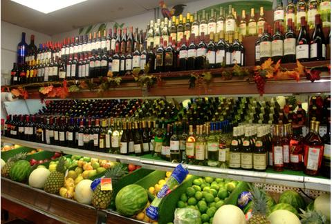 Wine selection at La Playa Market