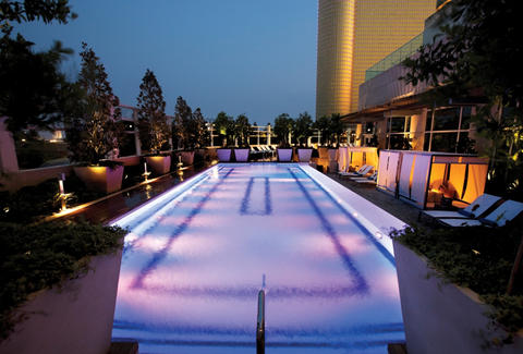 A night view of the lit up pool at Borgata's Water Club
