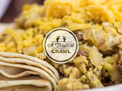 A delicious breakfast taco