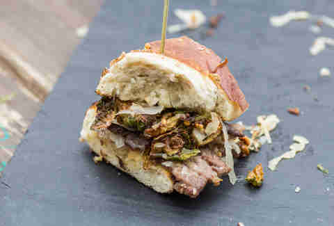corned beef tongue with Brussels sprouts sandwich from Say laV