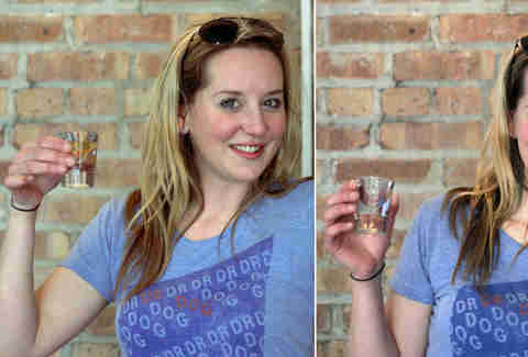 Nicole drinking Malort at Roots Handmade Pizza in Chicago