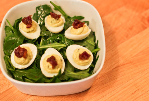 1Kept - Deviled Quail Eggs w/bacon jam