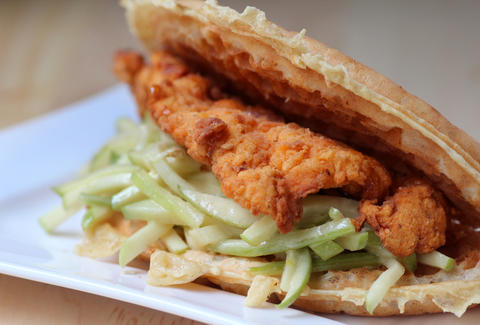 Fried chicken sandwich from Wafel in the West Loop