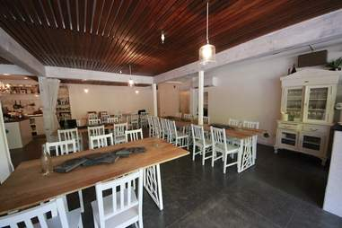 The open kitchen at Din Din Supper Club.