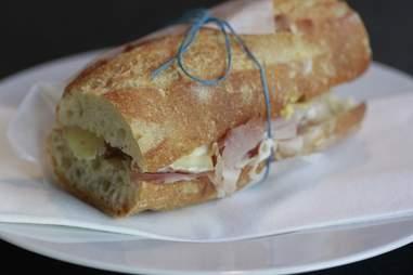 A ham baguette at Din Din Supper Club.