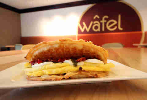 Caprese breakfast sandwich from Wafel in the West Loop
