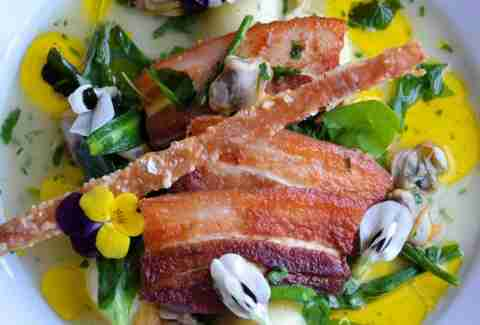 bacon and flower salad