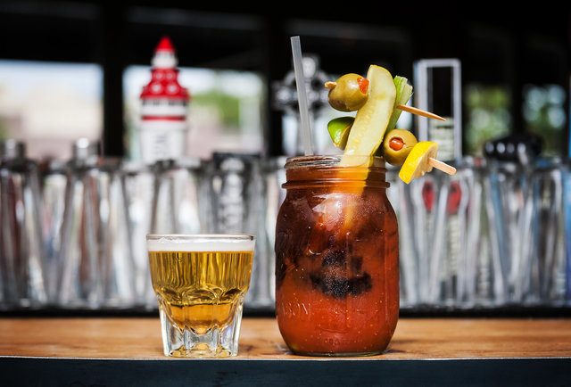 Drink 32 beers and this Bloody Mary on a huge patio