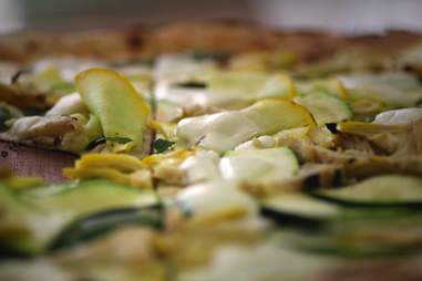 courgette and artichoke pizza at homeslice