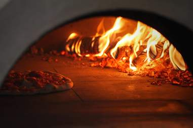 the wood oven at homeslice