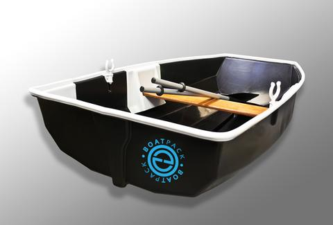 Boatpack set up as rowboat with oars and seat