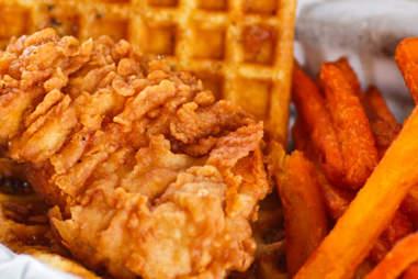 Chicken & waffle sliders.