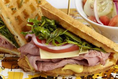 The waffle sandwich.
