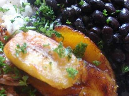 Plantains with black beans at Next Door