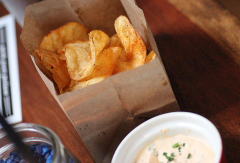 Front Porch potato chips at Southside Spirit House