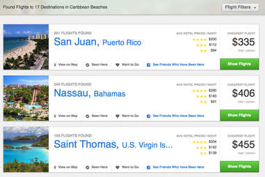GetGoing's search results for Caribbean flight options