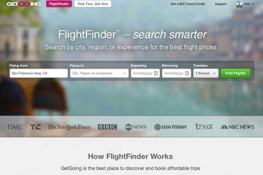 GetGoing's FlightFinder page