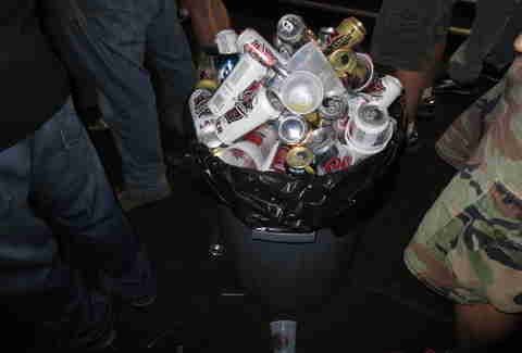 Trash can full of beers at ICP concert