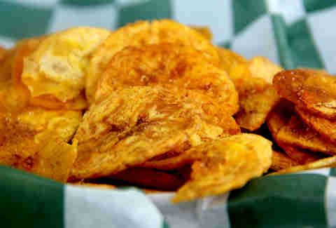 Spicy dry rubbed plantain chips from the Taco Mondo truck