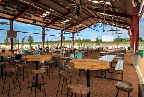Beer garden at Coyote Drive-In, Fort Worth, Texas