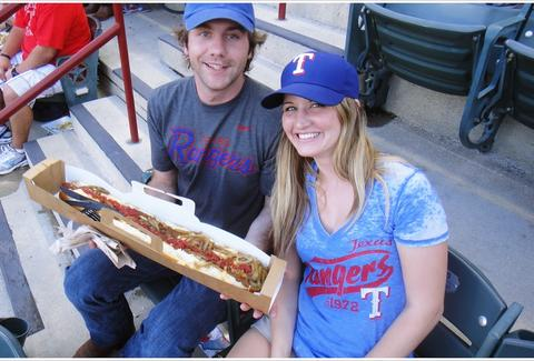 Boomstick hot dog at Rangers game