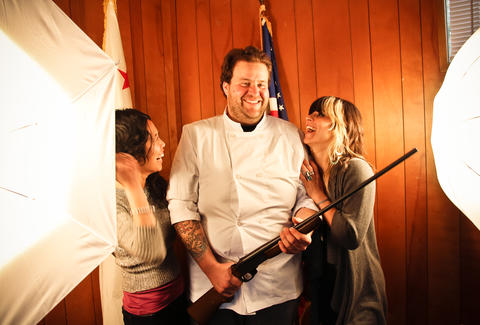 An awesome hunter/chef with laughing ladies