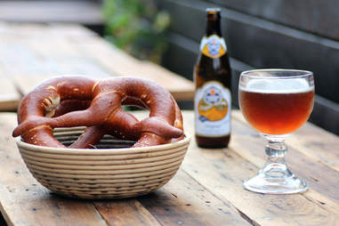 Beer and pretzel outside at Bronwyn