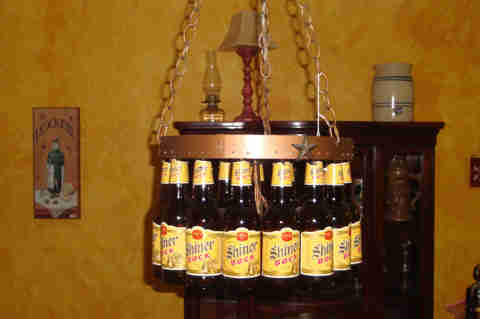 Shiner Bock Chandelier
