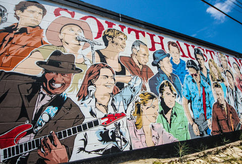 A mural of rock stars in South Austin