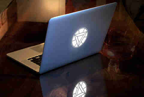 Laptop with Iron Man Arc Reactor