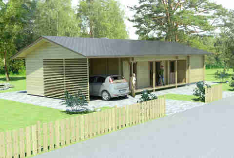 medium sized Glog Home house with carport