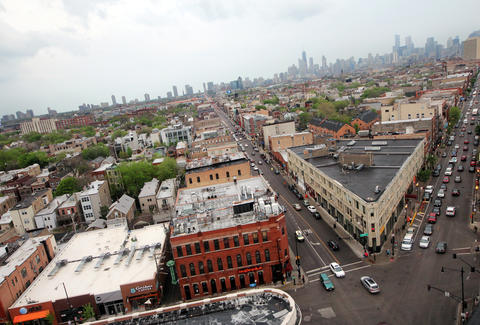 Aerial view of Chicago's Wicker Park neighborhood