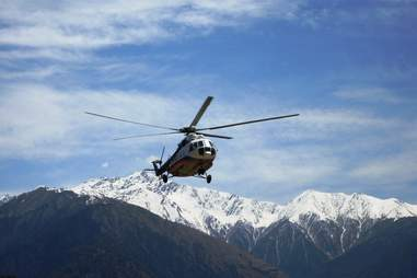 Helicopter over Himalayas
