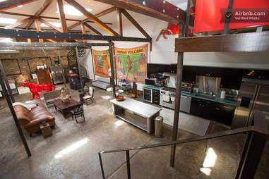 inside a converted gas station