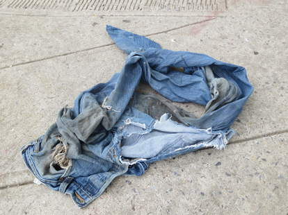 Pair of jeans in Alphabet City, Manhattan