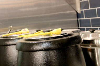 Kettles of soup behind the counter at Luke's Lobster Rittenhouse Square