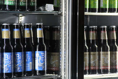 A fridge case of Maine Root sodas at Luke's Lobster Rittenhouse Square