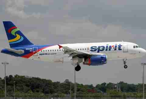A Spirit Air Lines plane takes off