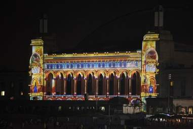 The Duality light show on the facade of Boardwalk Hall in Atlantic City