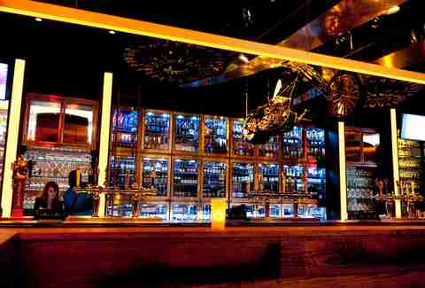 The wall of beers behind the bar at Mussel Bar at Revel in Atlantic City