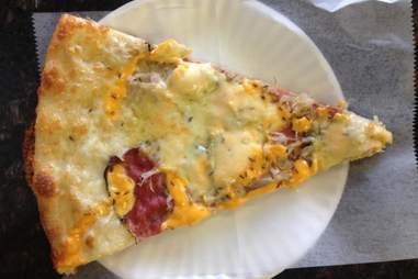 A slice of pizza from Tony Boloney's