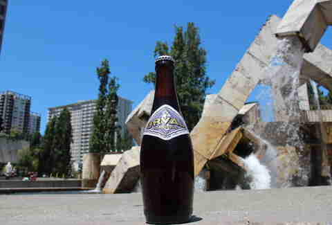 Orval Trappist Ale in front of a sculpture fountain